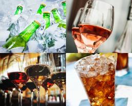 4 foto's met daarop flesjes bier, glazen wijn en een glas cola met ijs